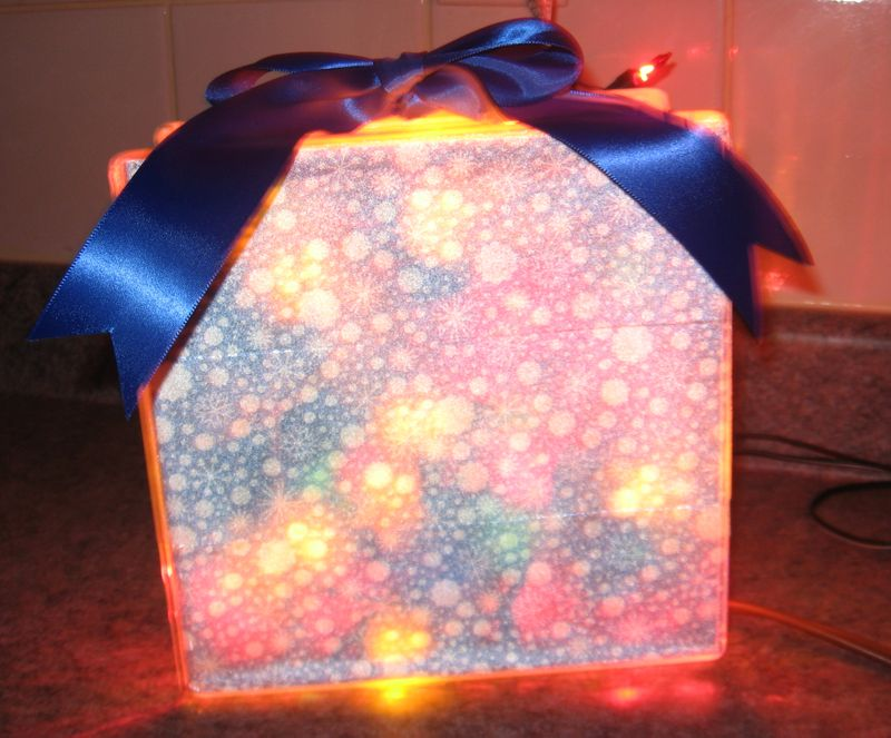 Lighted glass block - Winter snowflakes