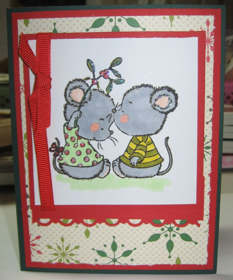 Christmas mice under the mistletoe