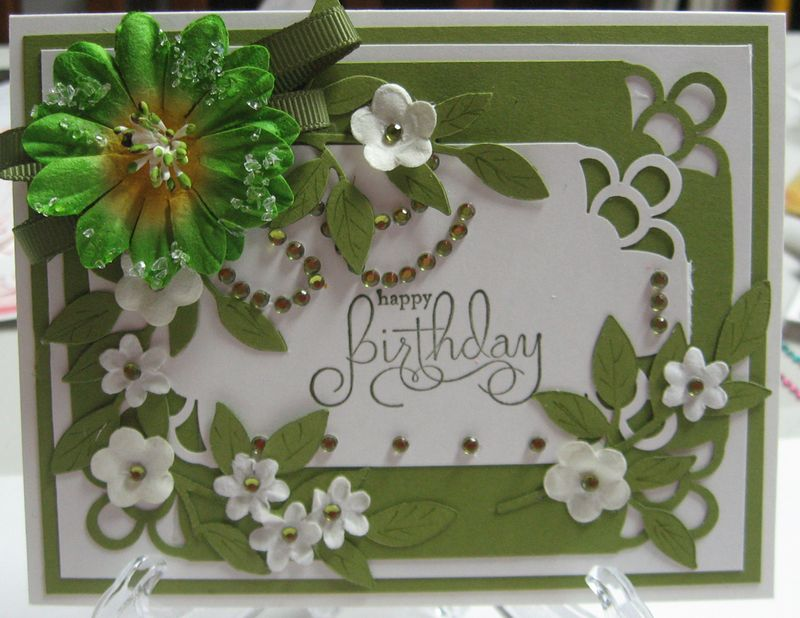 Green flower and rhinestones